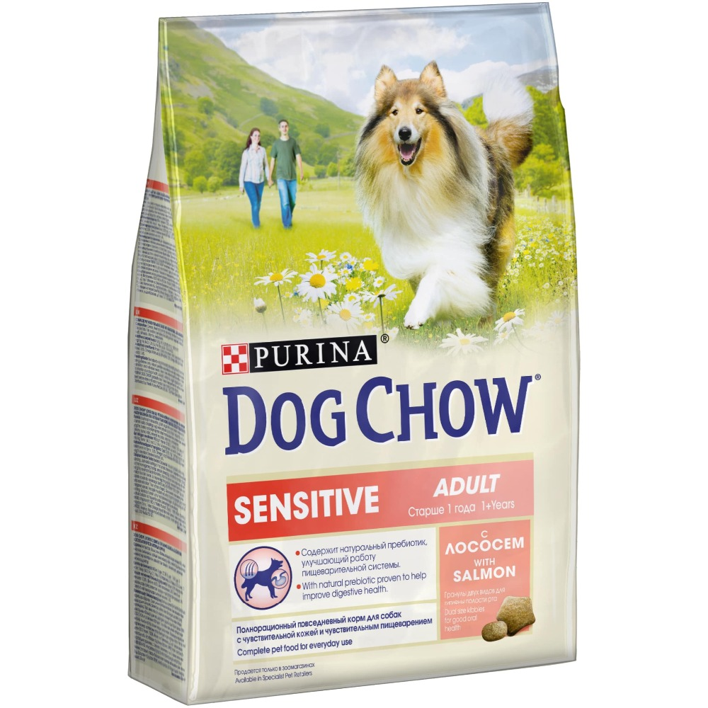 Dog Chow dry food for adult dogs over 1 year old with sensitive digestion with salmon, 10 kg. with 10