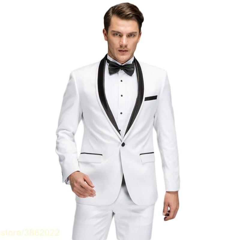 Белый костюм Для мужчин 2018 Новый Демисезонный Slim Fit Нарядные Костюмы для свадьбы для Для мужчин высокое качество воротником выпускного вече