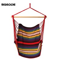 SGODDE Garden Patio Porch Hanging Cotton Rope Swing Chair Seat Hammock Swinging Wood Outdoor Indoor Swing
