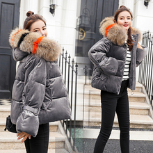 New Fashion Women Winter Padded Jacket Female Hooded Wadded Coats Outerwear Short Casual Velvet Thickened Down Cotton Overcoat