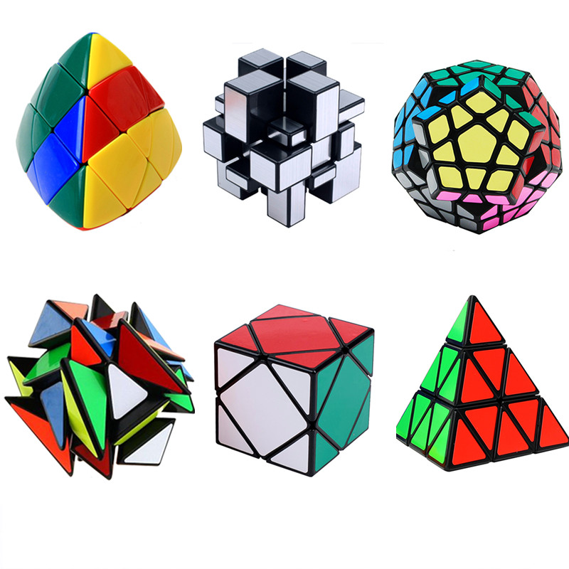 6pcs/set Strange Shape PVC Sticker Magic Cube Educational Puzzles Learning Toys Skewb Megaminx Pyraminx Puzzle Cubes brand moyu aofu cube 7x7x7 magic cubes 7 block puzzle speed cubes learning