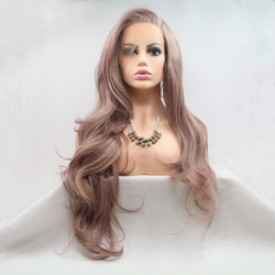 Marquesha Realistic Luxurious Looking Long Wavy Smoke Pink High Temperature Fiber Synthetic Lace Front Wigs For Women