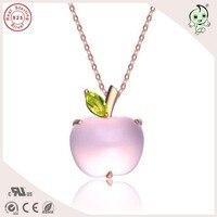 Top Kwaliteit Hot Koop Populaire En Leuke Roze Goud 925 Real Zilver Apple Ontwerp Hanger Met Verschillende Natuurlijke Edelsteen