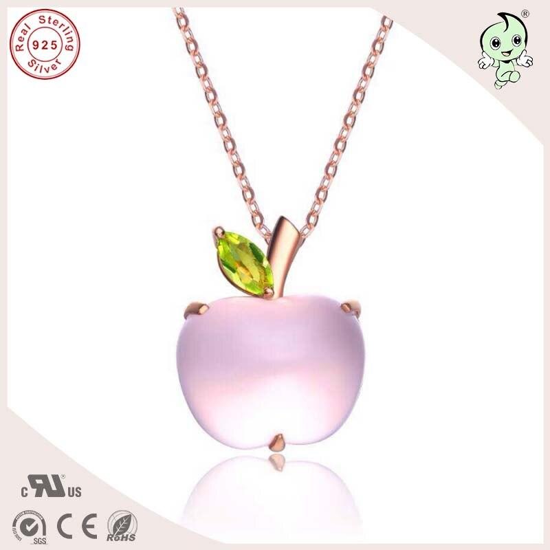 Top qualité offre spéciale populaire et mignon or rose 925 réel argent pomme Design pendentif avec différentes pierres précieuses naturelles