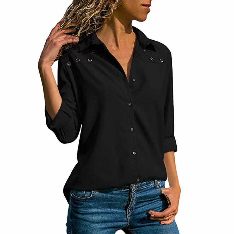 女性はブラウス 2019 春エレガントな長袖ブラウスシャツターンダウン襟シフォンブラウスオフィスシャツ Blusas カミーサ