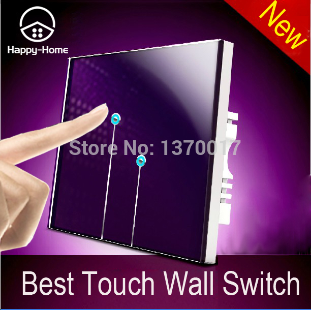 Double control Purple Glass LED Waterproof 2 gangs 2 way light switch touch wall touch light switches,Wallpad Free Shipping new design 2 gangs 1 way crystal glass led black touch switches wallpad ac 110 250v wall light touch screen switch free shipping