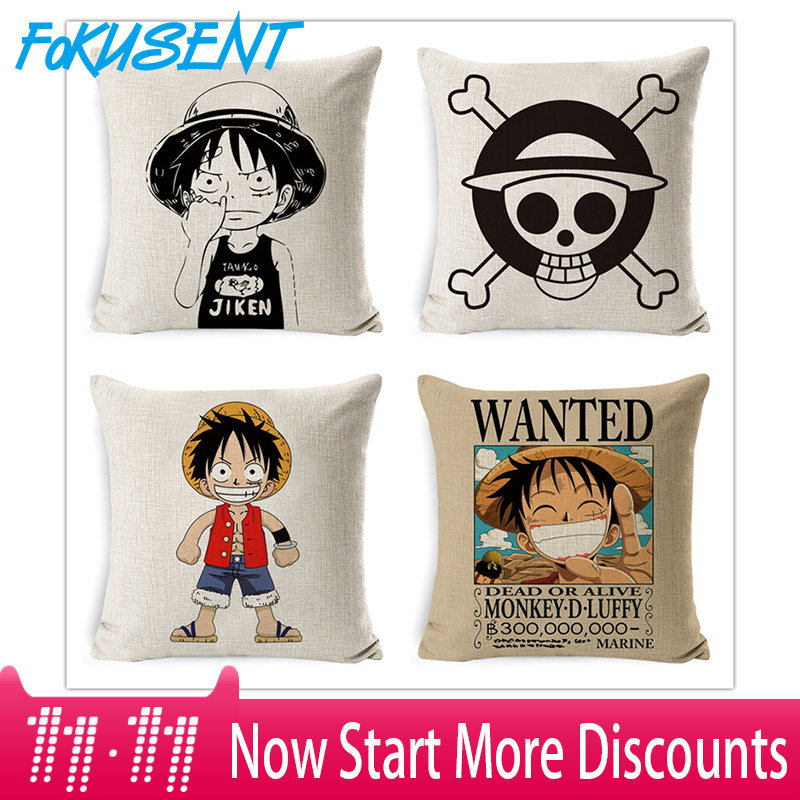 Fokusent Anime Linen One Piece Wanted Printed Throw Pillow Cover Covers Home Hotel Pillow Case 45x45cm 2018 New Arrival