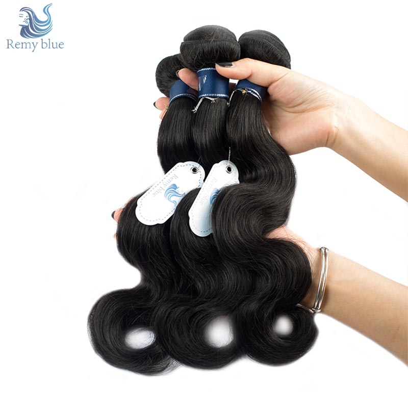 Remy Blue Hair Brazilian Body Wave Bundles Natural Dark Color Black Human Hair Weave 3 Bundles Deals Remy Hair No Smell & Tangle