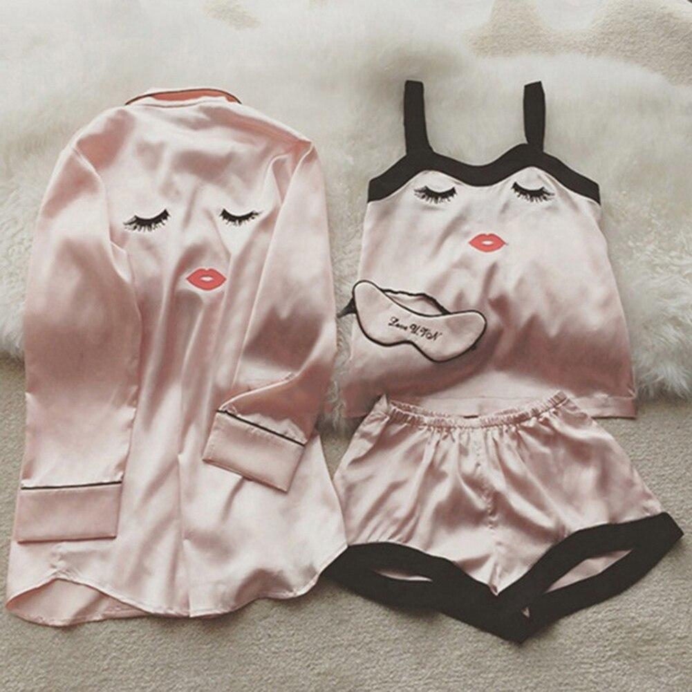 4 Pieces Women Summer Pajamas Top Shorts Robe Eye Mask Sleepwear Clothing Set