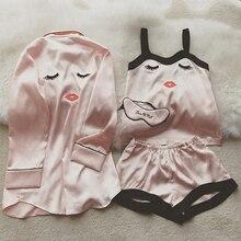 4 Pieces Women Summer Pajamas Top Shorts Robe Eye Mask Sleepwear Clothi