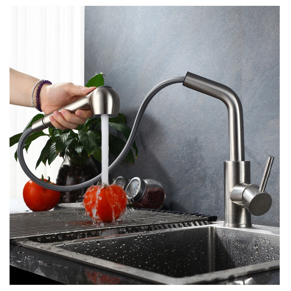 ANHO Kitchen Faucet 304 Stainless Steel Water Mixer Tap Cold and Hot ...