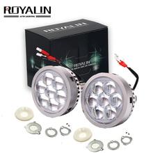 цена на ROYALIN Car LED High Beam Projector Headlights Lens with Devil Eyes Motorcycle Lights for H1 H4 H7 9005 lamps Retrofit DIY