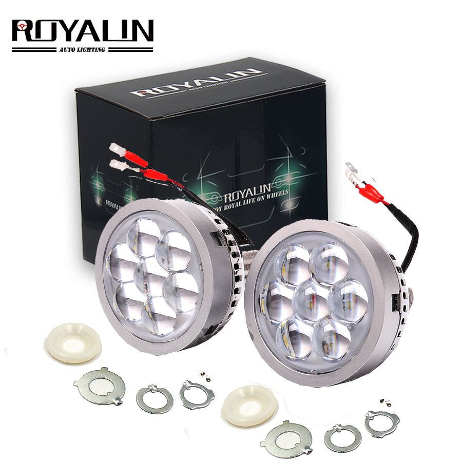 ROYALIN Car <font><b>LED</b></font> High Beam Projector <font><b>Headlights</b></font> <font><b>Lens</b></font> with Devil Eyes Motorcycle Lights for H1 H4 <font><b>H7</b></font> 9005 lamps Retrofit DIY image