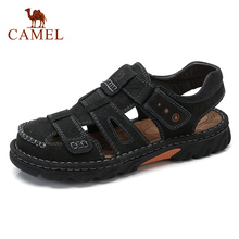CAMEL Summer Outdoor Casual Mens Sandals Men Genuine Leather Shoes Beach Male Hand Stitching Wrapped Toe Sandal Men