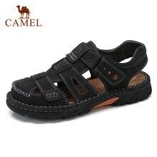 CAMEL sandalias de verano para exterior sandalias casuales para hombre zapatos de cuero genuino para la playa y para hombre sandalia de punta envuelta cosida a mano para hombre