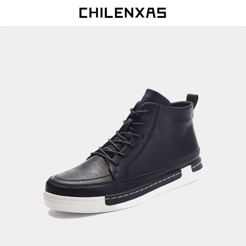 CHILENXAS 2017  winter new shoes  leather men casual breathable comfortable fashion shoes lace-up boots height incerasing 2017 simple common projects breathable lace up handmade leather shoes casual leather shoes party shoes men winter shoes