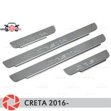 Дверные пороги для hyundai Creta 2016-шаг пластины внутренняя отделка Аксессуары защита потертостей автомобиля Стайлинг украшение штамп модель