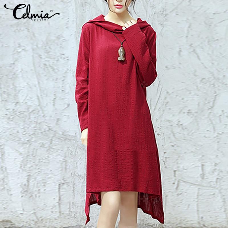 996f0f4c8a2e4 Celmia Plus Size Women Hooded Dress 2018 Autumn Vintage Long Sleeve Tops  Asymmetric Hem Casual Loose