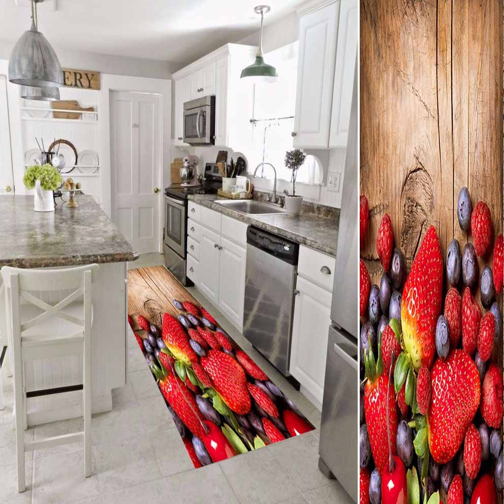 Else Red Strawberry On Brown Wood Fruits 3d Print Non Slip Microfiber Washable Long Runner Mat Kitchen Rugs Hallway Carpets