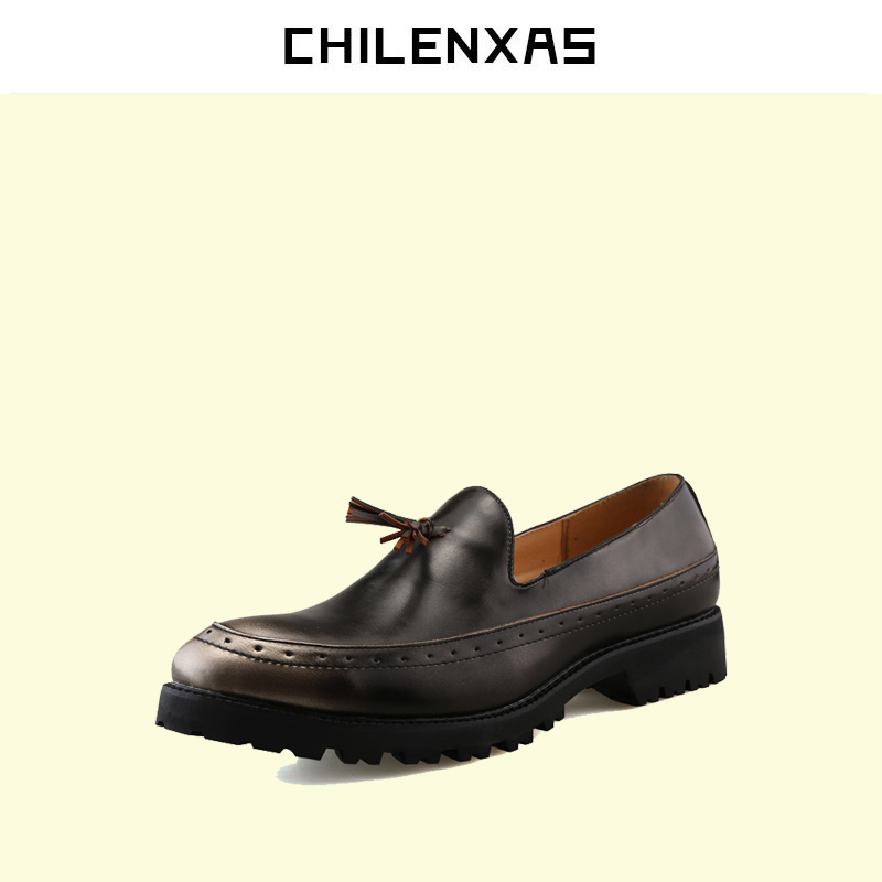 CHILENXAS 2017 New Autumn Winter fashion  Genuine Leather Casual Shoes men breathable comfortable loafers height increasing