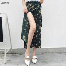 2018 new summer Lady's skirt  A piece of lace skirt floral wrap skirt women's Beach Resort in Bohemia spring long Chiffon 2018 limited real princess s new woman s dress ribbon chiffon bohemia long skirt and seaside resort