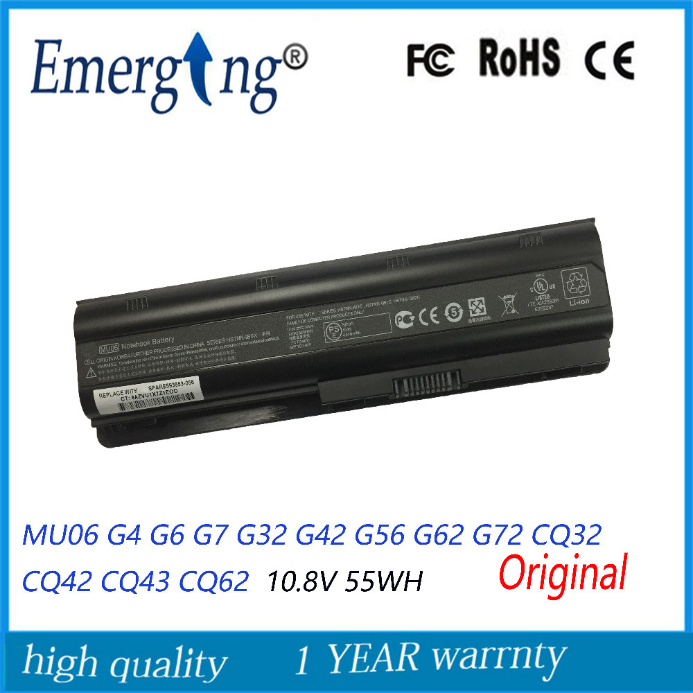 Original 55WH New Laptop Battery MU06 For HP Pavilion G4 G6 G7 G32 G42 G56 G62 G72 CQ32 CQ42 CQ43 CQ62 CQ56 CQ72 DM4 593553-001 100wh original new laptop battery mu09 for hp pavilion g4 g6 g7 g32 g42 mu06 g56 g62 g72 cq32 cq42 cq62 cq72 dm4 593553 001