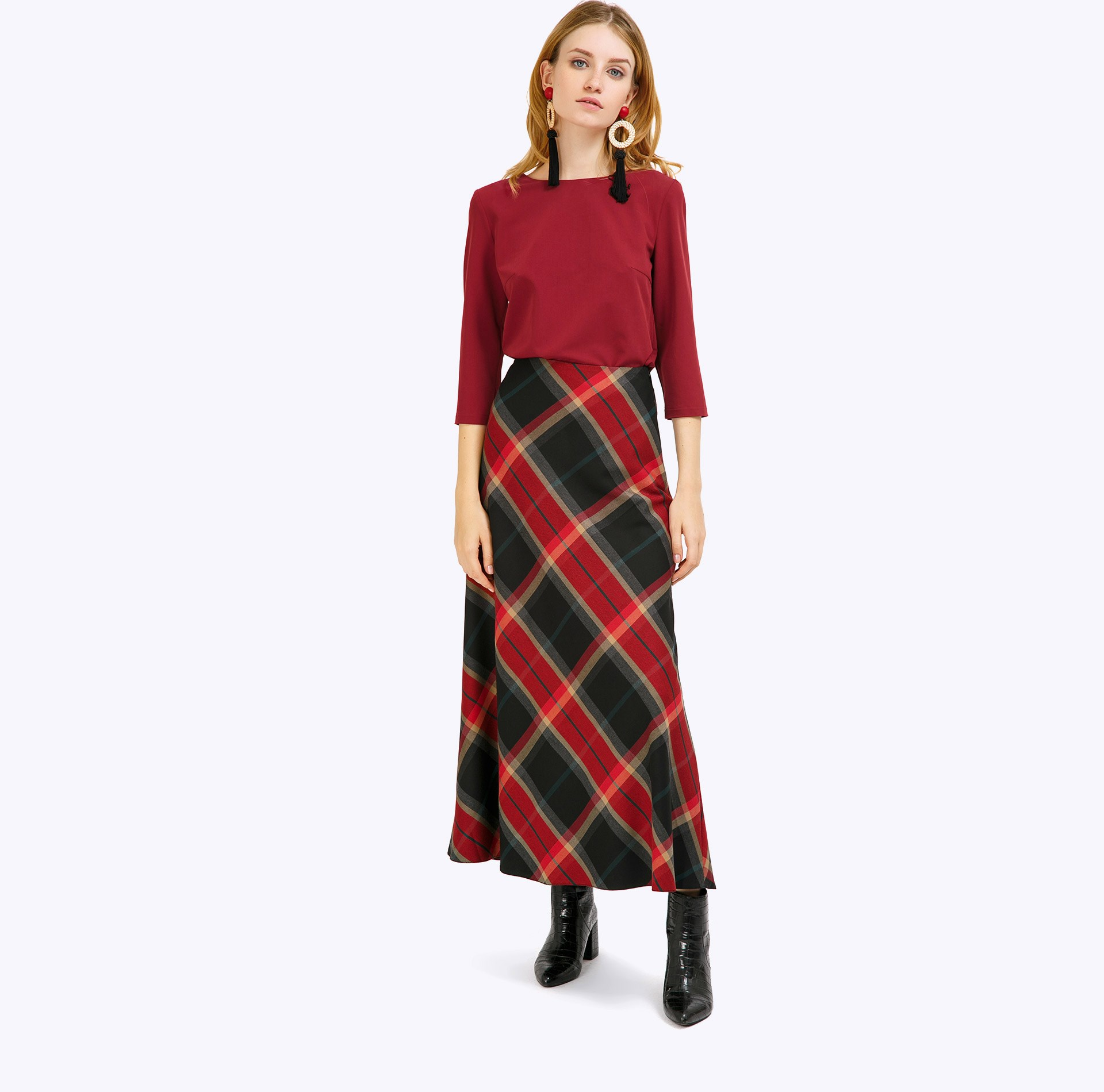 Skirt A-line plaid glen plaid zip back skirt
