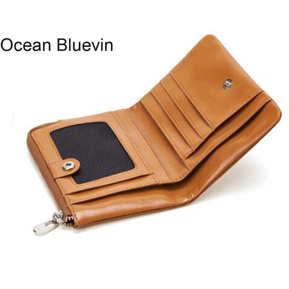 OCEAN BLUEVIN Wallet Women Men Leather Genuine Vintage Coin Purse Zipper Men Wallets Small Perse Solid RFID Card Holder Carteira