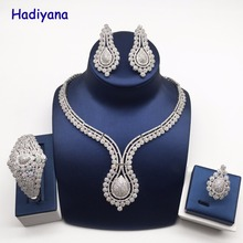 ФОТО hadiyana luxury women jewelry elegant shape wedding jewelry set saudi costume dress accessory jewellery set for party date cn768