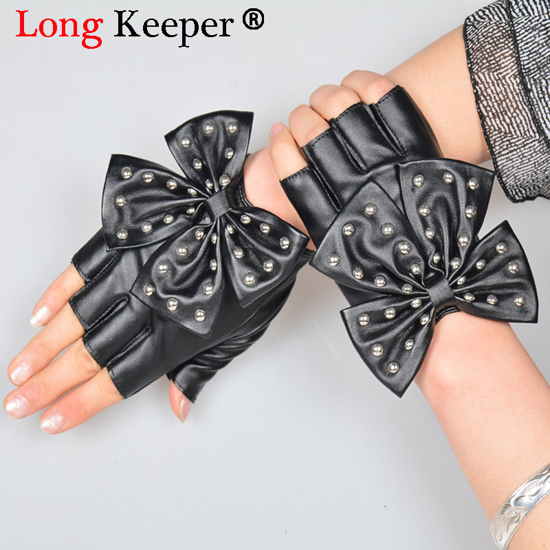 Fashion Female Half Finger Punk Rivet Dance Gloves Women Sport Fitness PU Leather Bow Mittens Tactical Fingerless Gilrs Luvas