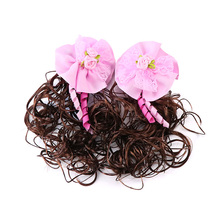 1 pair Children Lovely Wig Hair Accessory Princess Girls Cute Curly With Bow Clip Hairpin