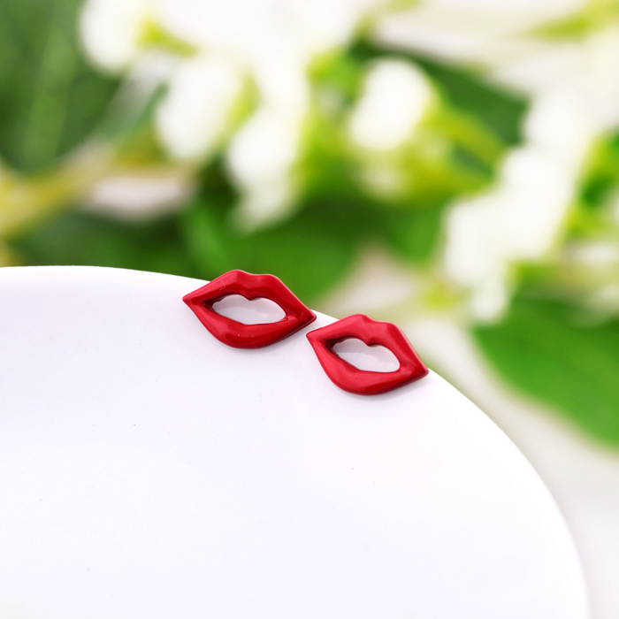 Lips Earrings Fashion Jewelry Red Exaggerated Atmospheric Sexy Girls Enamel