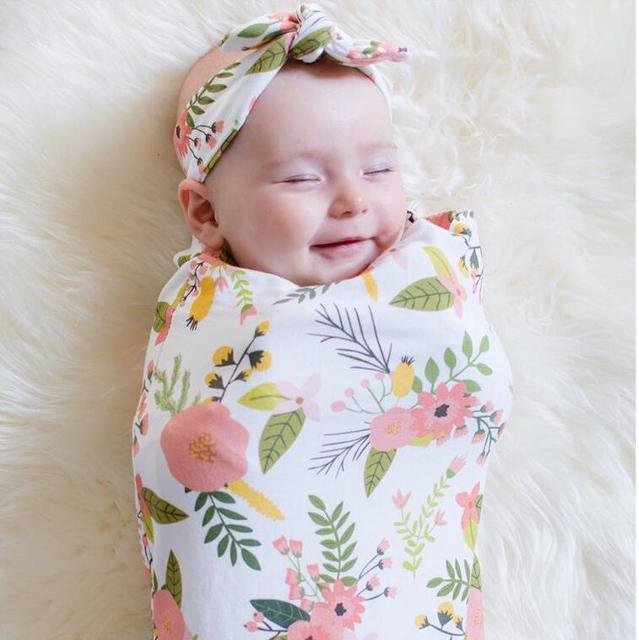 2 Pcs Set Baby Sleeping Bag Hair Band Cotton Printing Thin Wrapping