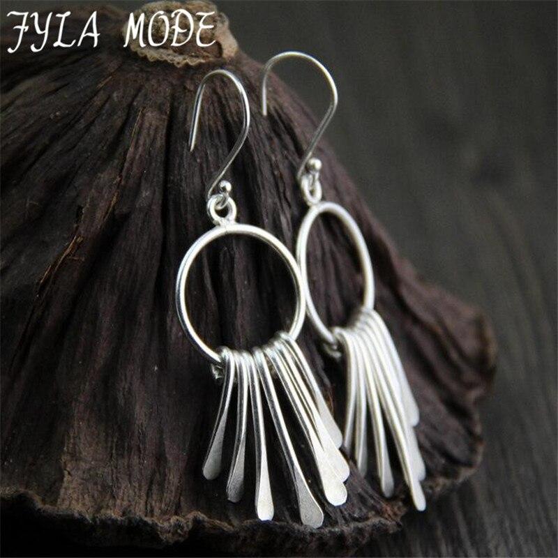 Fyla Mode 925 Silver Round Earring Long Chain Tassel 100% S925 Sterling Silver Drop Earrings for Women Jewelry 45*19MM 8.80G
