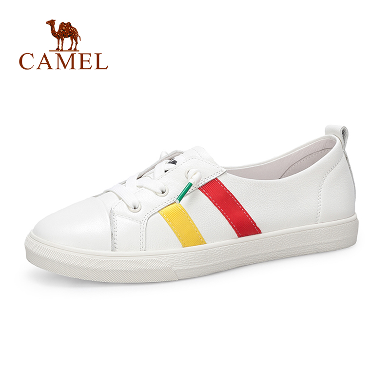 CAMEL Women New Fashion Casual Single Shoes Women Genuine Leather Soft Low Flat Striped Student White