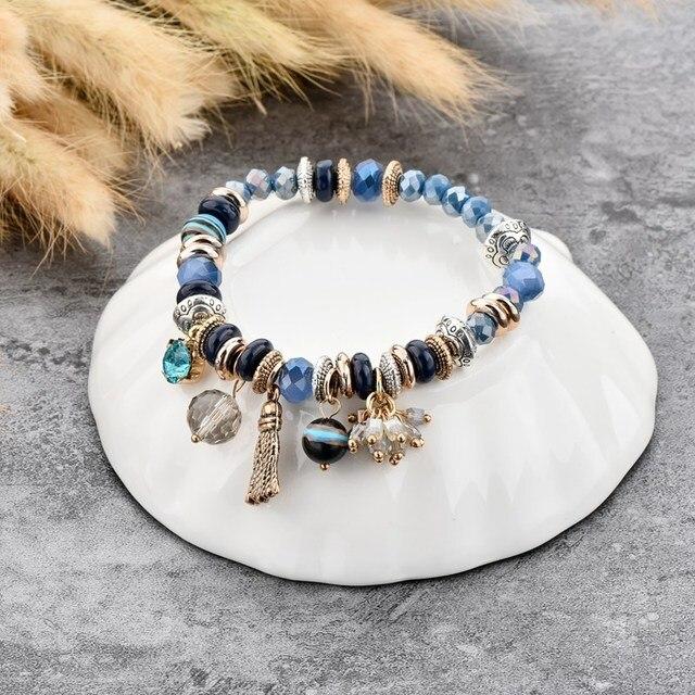 chicvie золотые кисточки и синие цветы браслеты для женщин браслет фотография