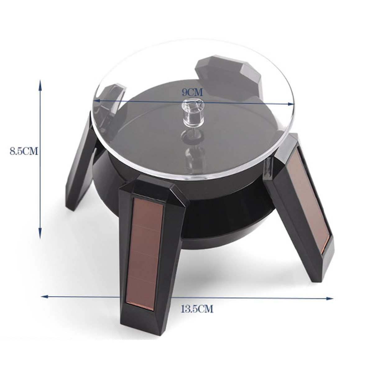 Battery/Solar Power 360 Jewelry Rotating Display Stand Turn Plate Table Organizer Watch Cellphone Hard Display Stand