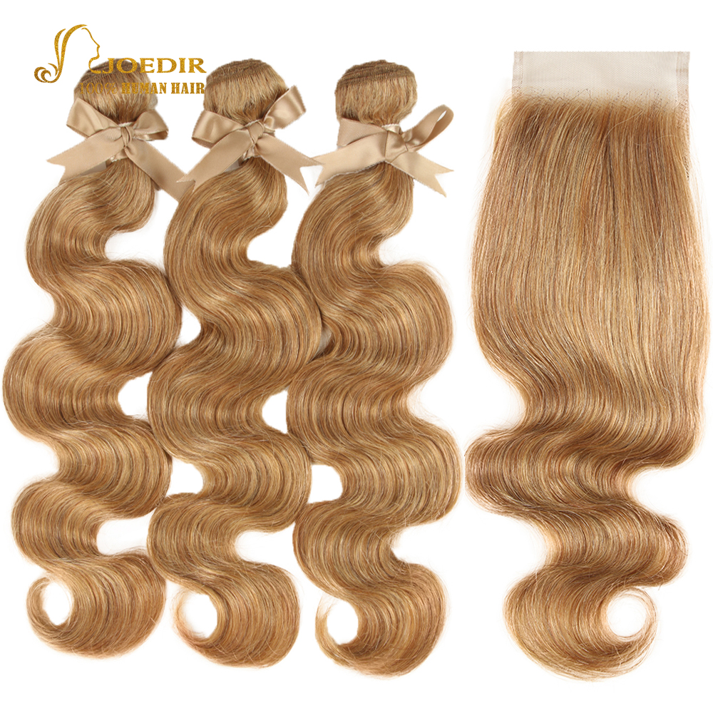 Joedir Hair Color 27/30 Light Brown Brazilian Body Wave Bundles With Closure Remy Human Hair Bundles With Closure Honey Blonde