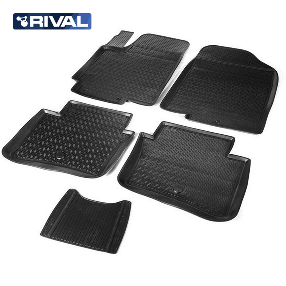 цены For Kia Rio III 2011-2016 floor mats into saloon 5 pcs/set Rival 12803001