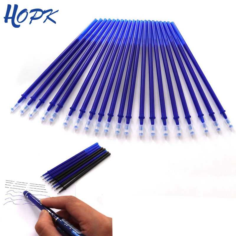 20Pcs/Set Office Gel Pen Erasable Refill Rod Erasable Pen Washable Handle 0.5mm Blue Black Green Ink School Writing Stationery