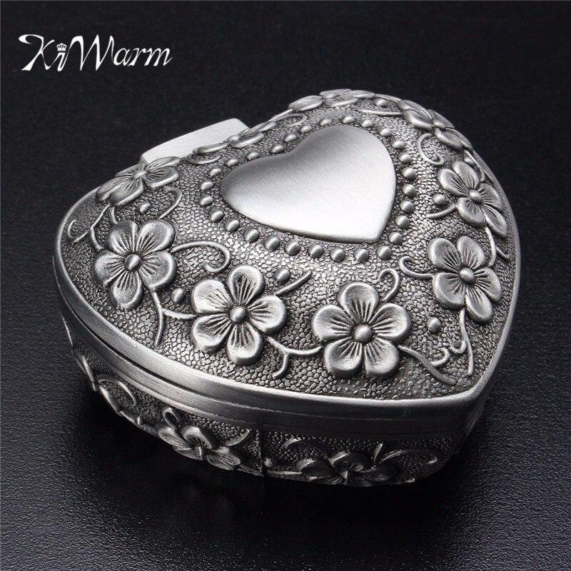 KiWarm Alloy Vintage Heart Shape Jewellery Box Ring Earrings Necklace Trinket Storage Casket Case Silver Ornament Holder