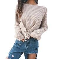 2017 נשים סתיו חורף שרוכים תחבושת מפלגה מקרית שרוול ארוך Loose סרוגים סוודרי Jumper סוודר חולצות סריגים מוצק