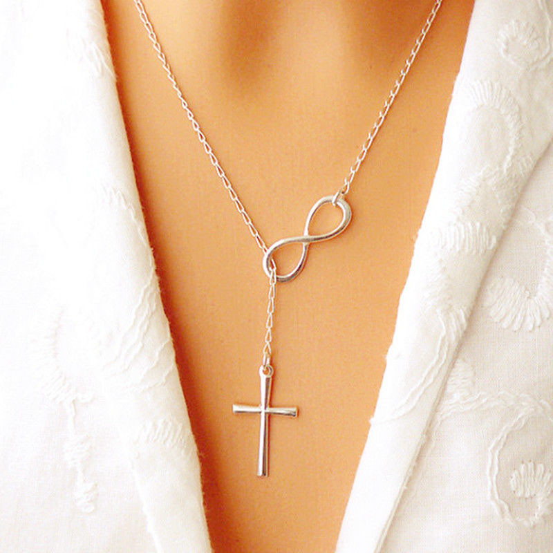 Infinity Cross Necklace Long Silver Chain Pendant