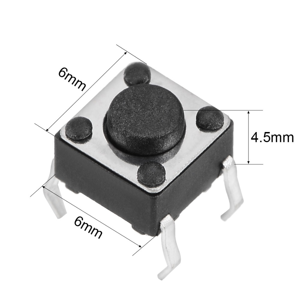 UXCELL 100PCS 6x6x4 5mm Switches Supplies Panel Mini PCB Momentary Tactile Tact Push Button Switch DIP Accessories Black Gray in Switches from Lights Lighting