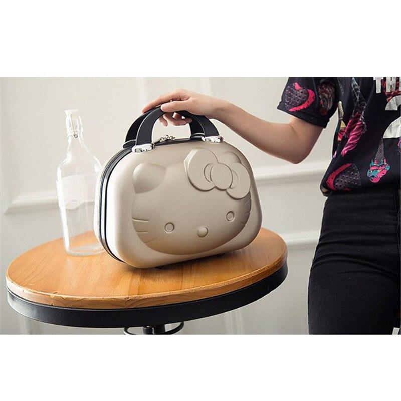 HOT 13 pouces sac d'affaires Hello Kitty fille boîtier de chariot ABS décontracté voyage bagages femme mode stockage valise cadeau