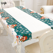 Urijk 1PC Christmas Party Tablecloth Disposable Table Cloth Winter Snowman Printed Tableware Wedding Picnic Tablecloth Kitchen