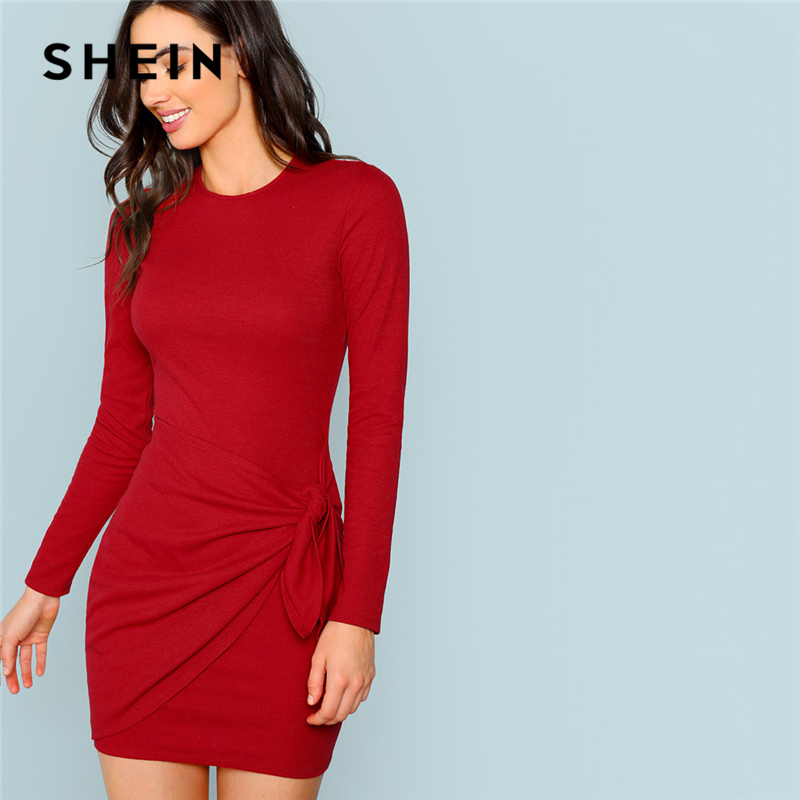 SHEIN Rust Sexy Elegant Office Lady Knotted Wrap Front Fitted Pencil  Natural Waist Dress 2018 Autumn ea3cebfe87b0