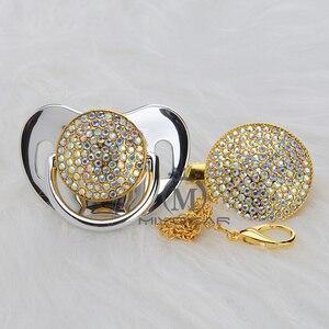 Image 5 - MIYOCAR altın bling renkli emzik ve klip seti kukla pacifire zincir SGS pass BPA ücretsiz güvenli AC 8