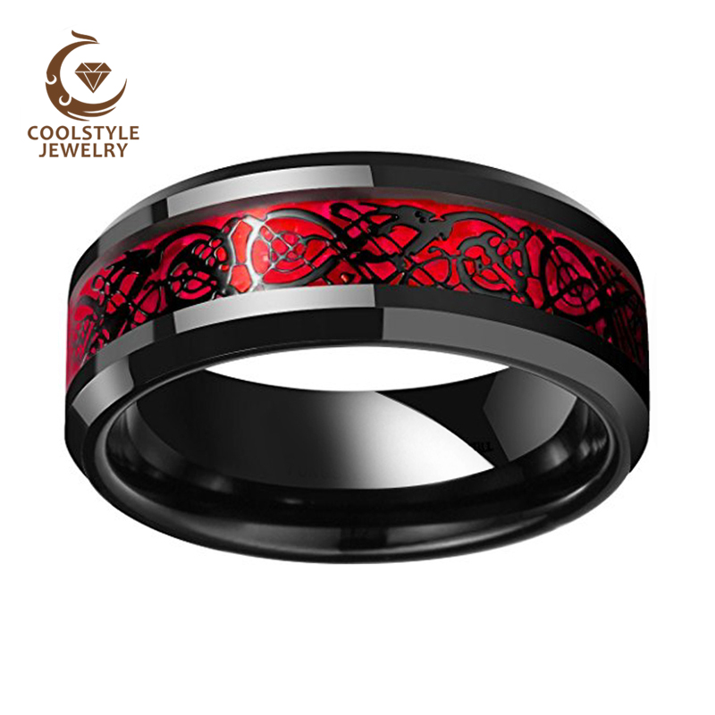Image 2 - 8MM Black Wedding Band Men Women Tungsten Wedding Band Ring With Red Opal And Black Dragon Inlay New ArrivalsWedding Bands   -