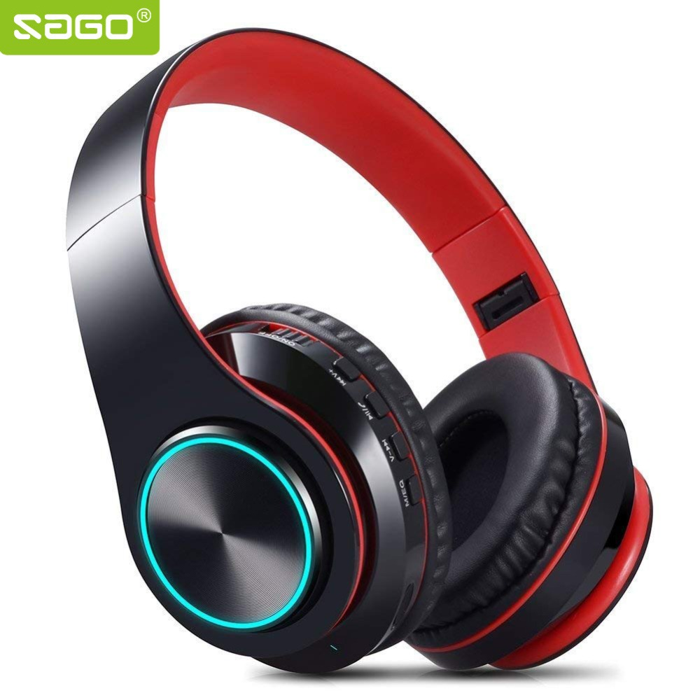 Sago Bluetooth Headphone Foldable Music Headset support Hifi TF Card with Mic for Mobile Phones PC Laptop - LED Light